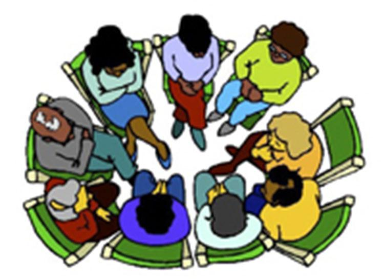 Graphic of people sitting in a circle having a planning meeting.