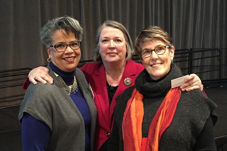 Photo of Debra Jennings, Sue Swenson, and Barbara Buswell at PEAK's 2015 Conference on Inclusive Education.