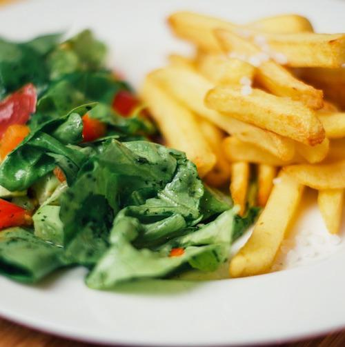 Photo of salad and french fries