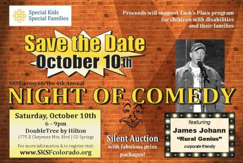Save the Date Night of Comedy flyer