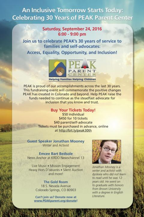 Graphic invitation to PEAK's 30th Anniversary Event on September 24, 2016