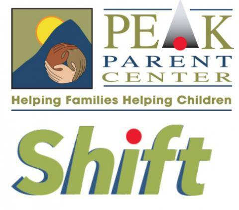 Logo for PEAK Parent Center and the Shift Transition Project