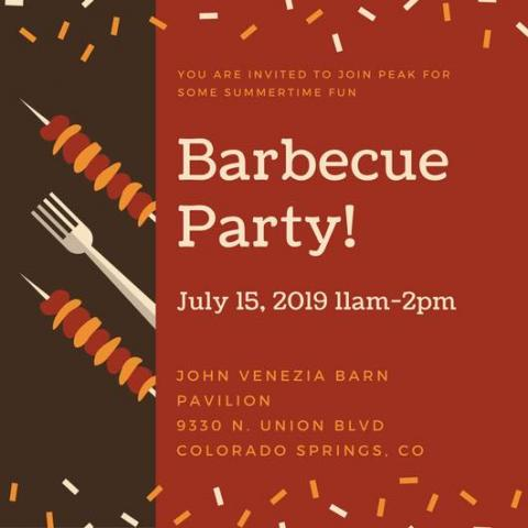 Graphic advertising PEAK's BBQ Party on July 15, 2017