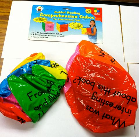 bright colored blow up comprehension cube