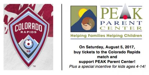 Graphic with the logo of the Colorado Rapids and PEAK Parent Center