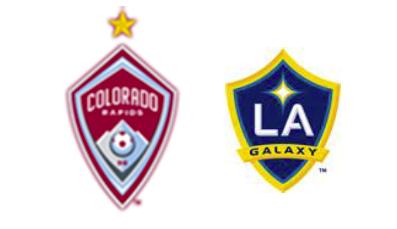 Logos of the Colorado Rapids and the L.A. Galaxy, Major League Soccer teams.