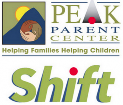 PEAK Parent Center logo blue mountain with sun and three hands forming a circle and the word Shift