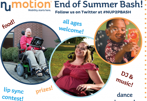 Numotion end of summer bash flyer with photos of people with disabilities