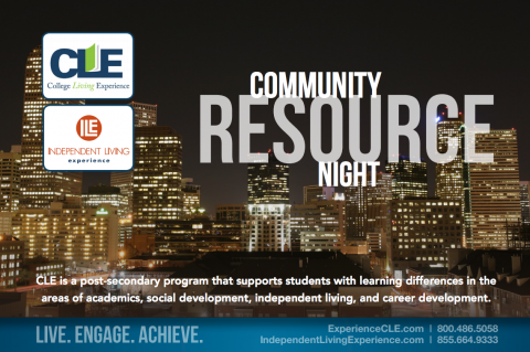 Community Resource night with College Living Experience and Independent Living Experience Logos