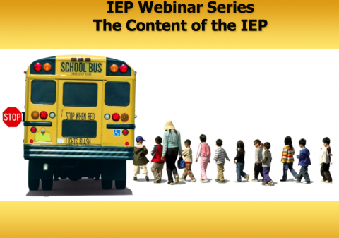 Line of kids boarding a school bus- IEP Webinar Series The Content of the IEP