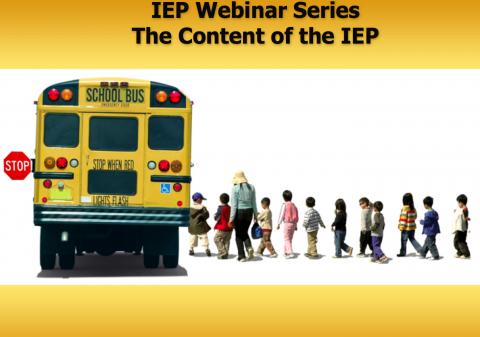Line of kids boarding a school bus- IEP Webinar Series The Content of the IEP