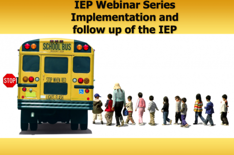 Line of kids boarding a school bus- IEP Webinar Series Implementation and follow up of the IEP