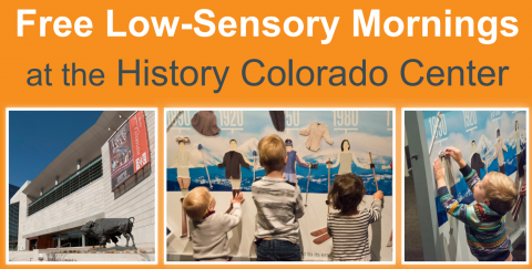 History Colorado Center building, kids interacting with a ski exhibit