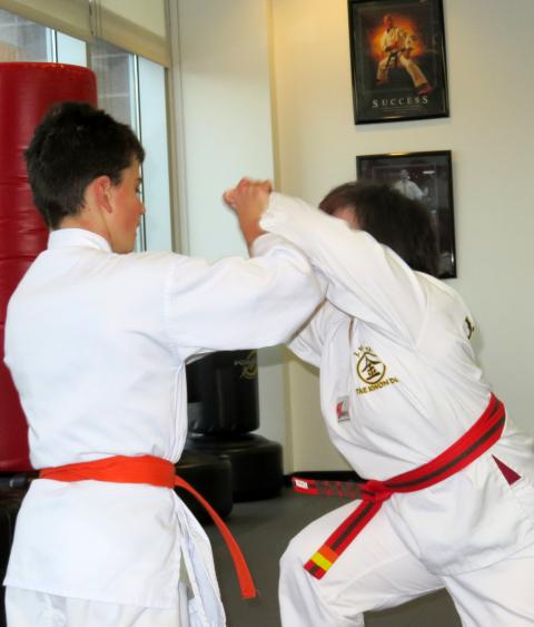 Photo of two children practicing Tae Kwon Do