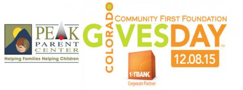 Logos for PEAK Parent Center and Colorado Gives Day 2015