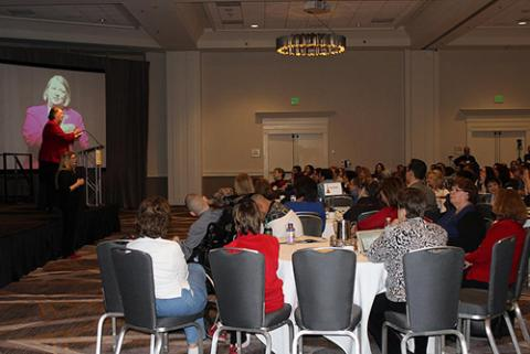 Photo of Sue Swenson presenting a keynote session at PEAK's 2015 Conference on Inclusive Education