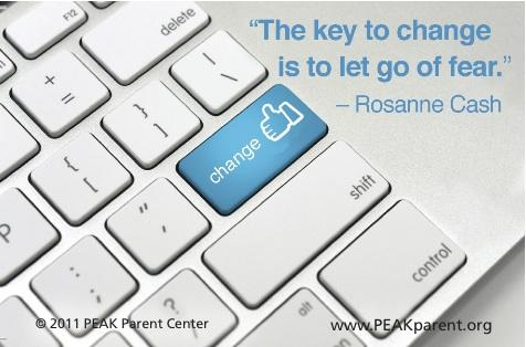 Graphic of keyboard with quote The key to change is to let go of fear by Rosanne Cash