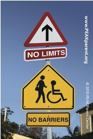 "Graphic with Two Road Signs with Replaced Images: A Pedestrian Sign that Includes Someone who Uses a Wheelchair, and a Road Sign that Says ""No Limits"" and ""No Barriers"""