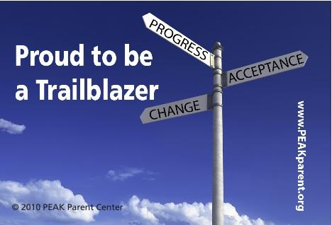 """Graphic that says """"Proud to be a Trailblazer,"""" with Road Signs that Read: Progress, Change, Acceptance"""