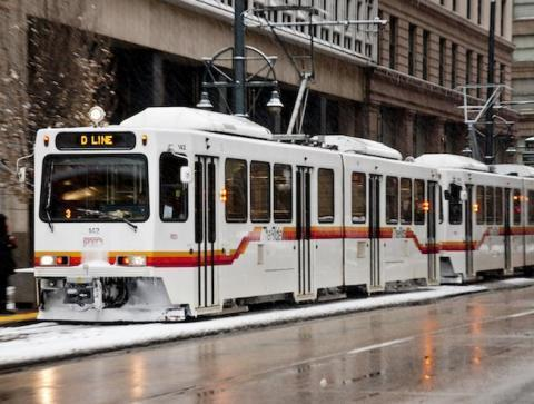 Photo of a light rail train in the snow