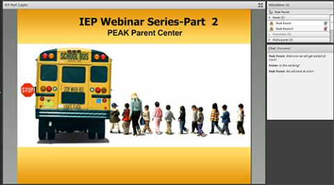 Screen Shot of a past PEAK recorded webinar!