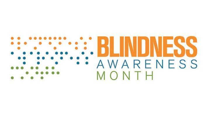 """Orange, teal and bright green dots next to same colored text reading, """"Blindness Awareness Month."""""""