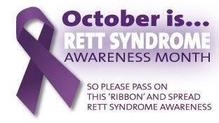 """Purple awareness ribbon next to purple text reading, """"October is Rett Syndrome Awareness Month. So please pass on the ribbon and spread Rett Syndrome Awareness."""""""