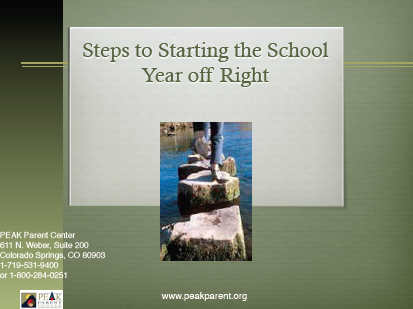 Title slide in a PowerPoint titled Starting the School Year Off Right, with a photo of someone walking on rocks in a river.