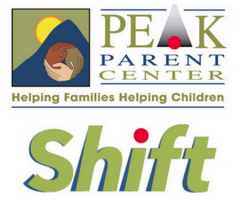 Logos for PEAK Parent Center and PEAK's Shift Project