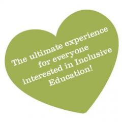 "Graphic of a green heart that reads ""The ultimate experience for everyone interested in Inclusive Education!"""
