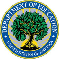 Logo of the U.S. Department of Education with a seed and a tree